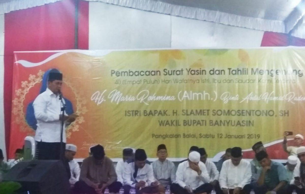 Keluarga Pemkab Banyuasin – Warga Pangkakan Balai Tahlilan 40 hari meninggalnya Istri Pakde Slamet